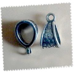 Lot 10 bélières striées en métal argenté