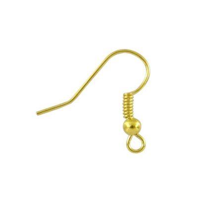 Lot de 10 supports boucles oreilles crochet hameçon doré