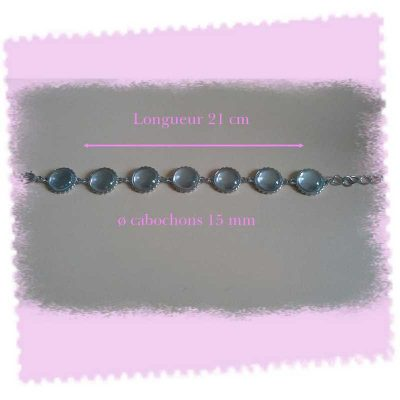 1 bracelet support + 7 cabochons ronds
