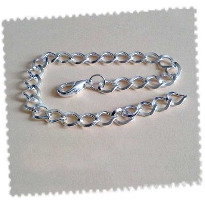 Chaine bracelet avec fermoir pince de homard plaqué argent