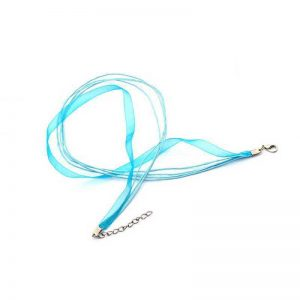 COLLIER ORGANZA BLEU TURQUOISE