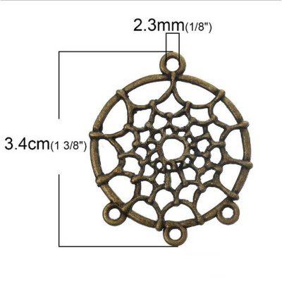 5 dreamcatcher pendentifs connecteurs ronds bronze antique
