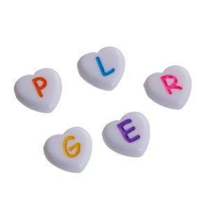 perle coeur lettre 11 mm
