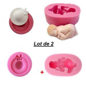 Lot 2 Moules silicone Bébé couché + Mini Chapeau