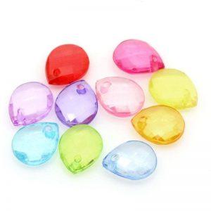 Lot 500 perles acrylique FACETTE GOUTTE multicolore 10 mm x 8 mm