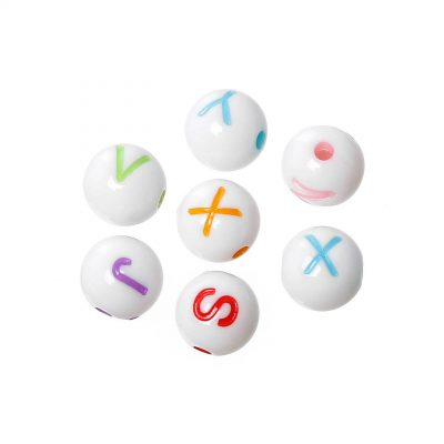 perles rondes blanche alphabet multicolore