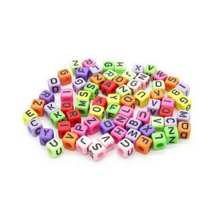 perle carrée multicolore 6 mm