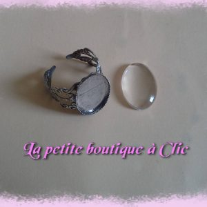 Support de bague cabochon ovale verre transparent