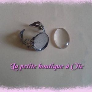 Support de bague cabochon ovale verre transparent