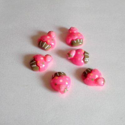 Cupcakes rose en résine 1.5 cm