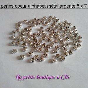 Lot 100 perles coeurs alphabet métal