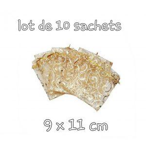 10 sachets organza dorés avec lien 9 x 11cm