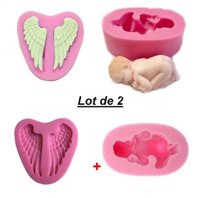 Lot 2 Moules silicone bébé couché + Ailes ange