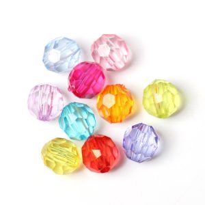 1000 perles RONDE FACETTE multicolore 6 mm
