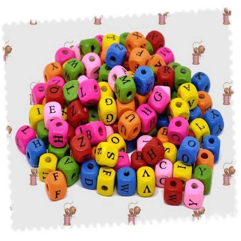 lot 500 perles alphabet multicolore bois 10 mm x 10 mm. Black Bedroom Furniture Sets. Home Design Ideas