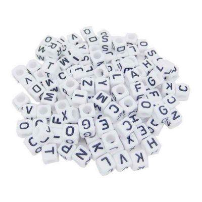 perle carrée lettre 6 mm