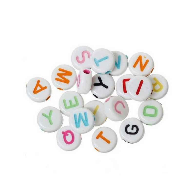 Blanc Lettre S Perle en bois alphabétique de 10 x 10 mm Lot de 3 perles