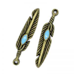 Lot 10 breloques pendentifs plume bronze avec turquoise