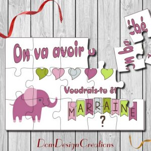 carte puzzle demande marraine