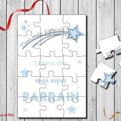 Carte puzzle demande parrain ou marraine