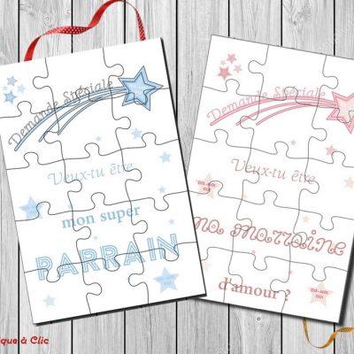 carte puzzle demande parrain marraine