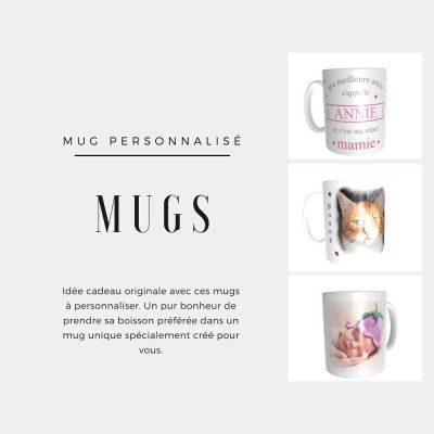 Idée cadeau originale avec ces mugs à personnaliser. Un pur bonheur de prendre sa boisson préférée dans un mug unique spécialement créé pour vous.