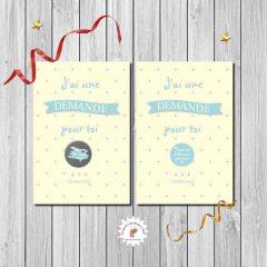 carte à gratter demande parrain beige et bleu imprimée recto verso