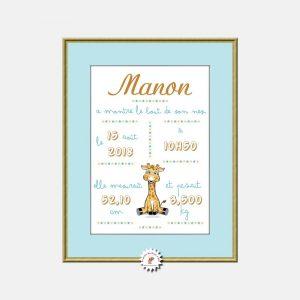 Jolie affiche de naissance à encadrer pour gardez une trace du jour où votre bébé a pointé le bout de son nez. Du plus bel effet sur le mur d'une chambre d'enfant, cette affiche décorative est illustrée avec une jolie petite girafe.