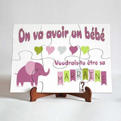 demande marraine puzzle premium éléphant