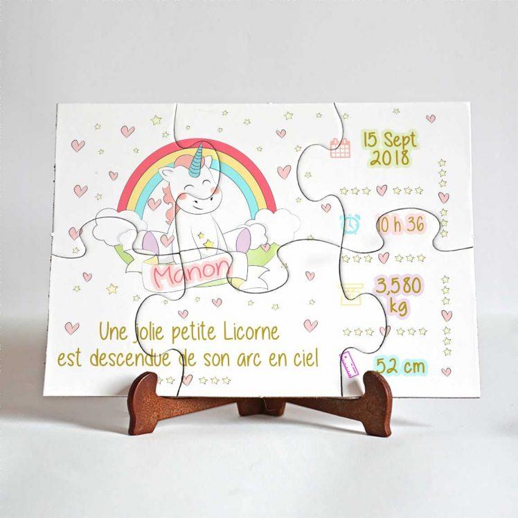 Puzzle faire part annonce naissance licorne