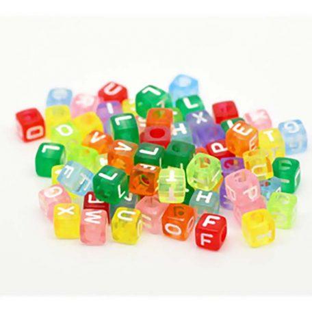 perle cube multicolore alphabet blanc 6 mm