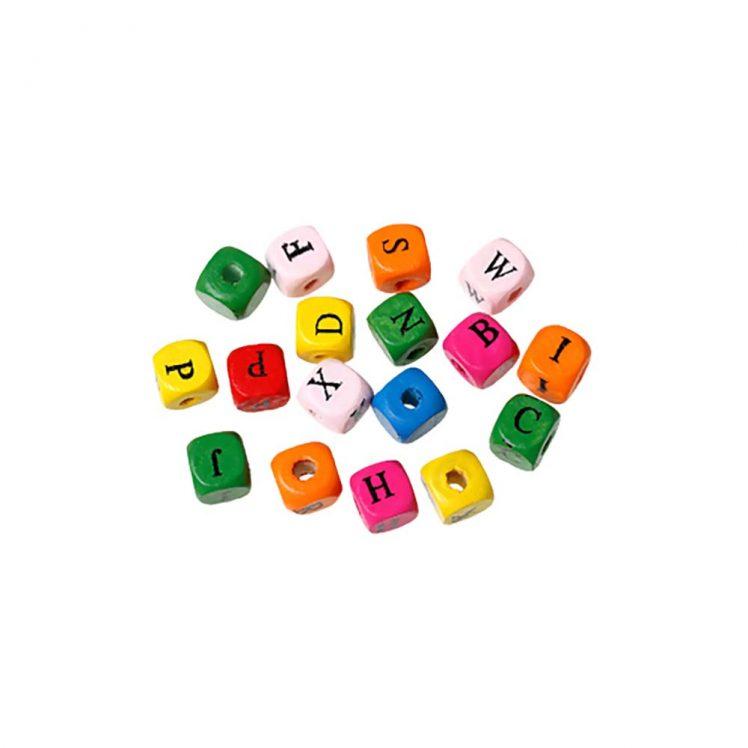 perle bois multicolore alphabet noir 1 cm