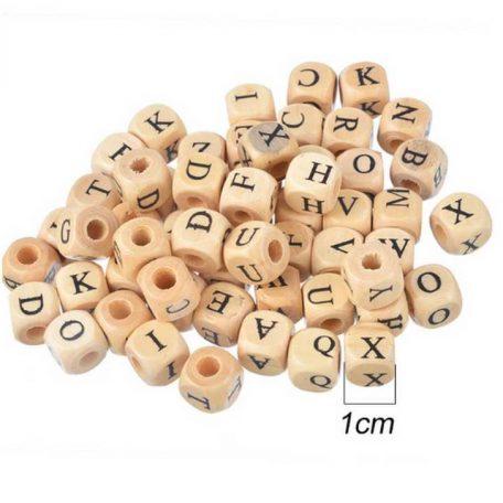 Perle bois carrée alphabet 1 cm
