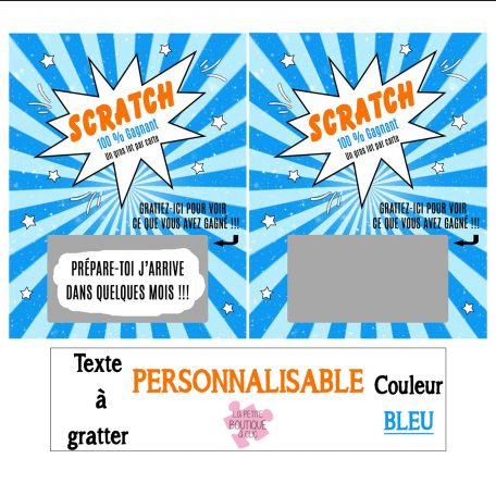 mini carte à gratter personnalisable bleu