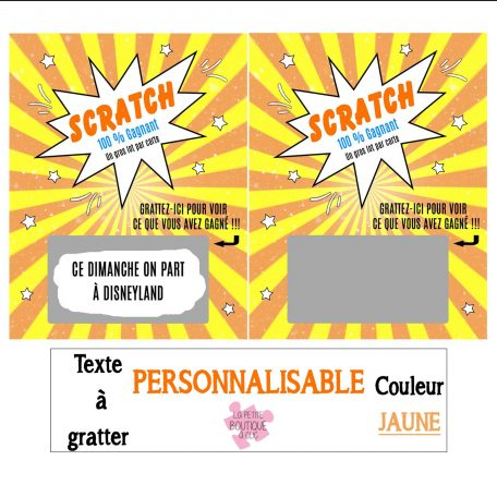 mini carte à gratter personnalisable jaune