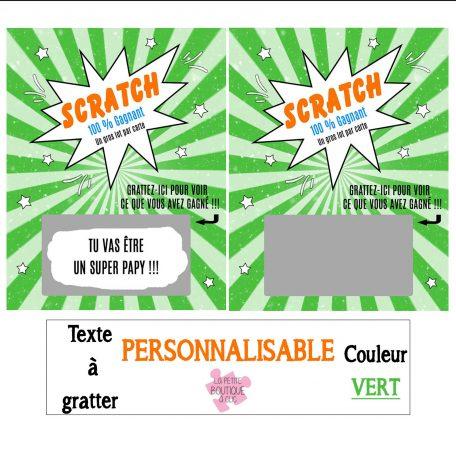 mini carte à gratter personnalisable vert