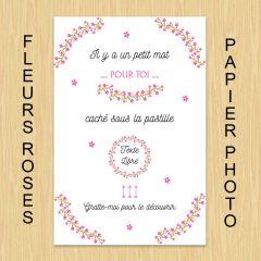 carte à gratter texte libre fleurs roses