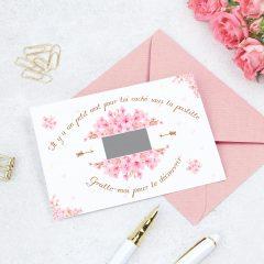 carte à gratter personnalisé cherry blossom
