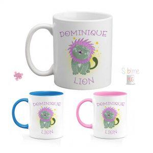 mug signe lion personnalisé prenom astrologique