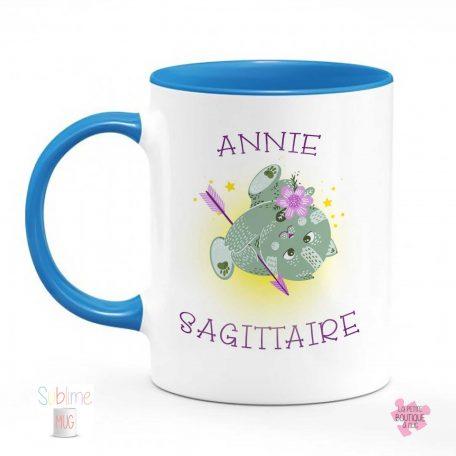 mug sagittaire prénom bleu