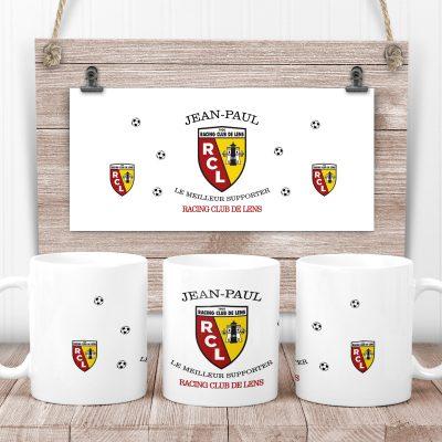 mug foot rc lens personnalisé prénom
