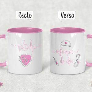 mug infirmière personnalisé prénom rose