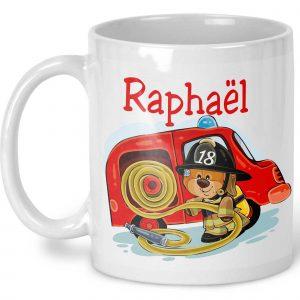 mug ours pompier personnalisable prénom