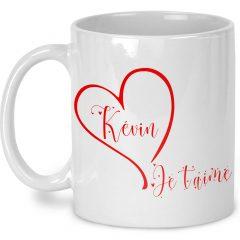 Tasse Je t'aime avec prénom saint valentin